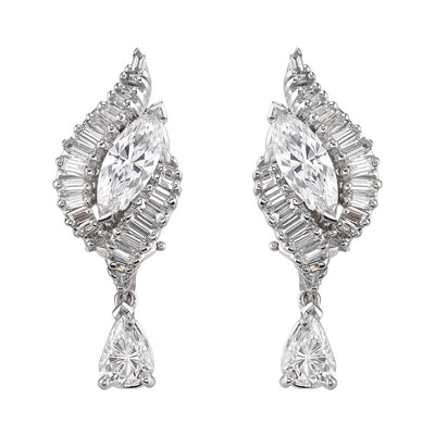 MID-CENTURY DIAMOND, 18K WHITE GOLD EARRINGS