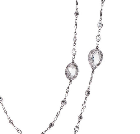 ROSE AND PEAR CUT DIAMOND AND PLATINUM NECKLACE
