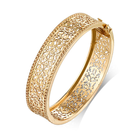 Foliate & Heart Motif Bangle Bracelet