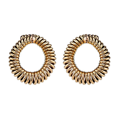 MID-CENTURY 14K YELLOW GOLD HOOP EARRINGS