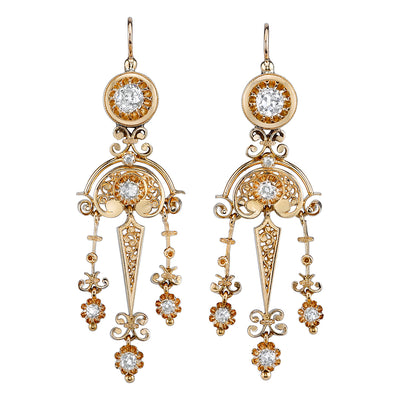 Pair of Victorian Diamond, Yellow Gold Earrings