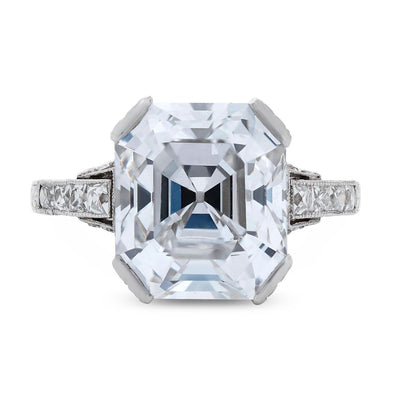 ART DECO SQUARE EMERALD CUT DIAMOND, PLATINUM RING