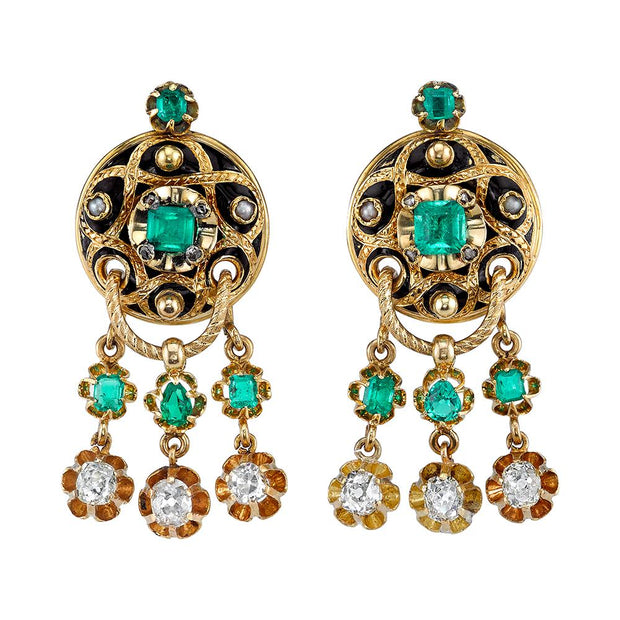 VICTORIAN EMERALD, DIAMOND, ENAMEL, NATURAL PEARL, GOLD EARRINGS