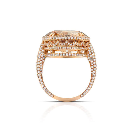 FANCY YELLOW-BROWN DIAMOND, 18K ROSE GOLD RING
