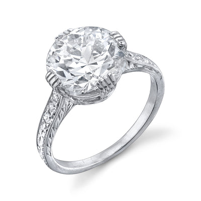 ART DECO OLD EUROPEAN-CUT DIAMOND, PLATINUM RING
