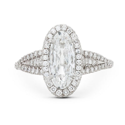 MOVAL-SHAPED DIAMOND AND PLATINUM ENGAGEMENT RING