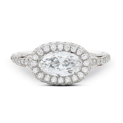 NEIL LANE COUTURE DESIGN MOVAL-SHAPED DIAMOND, PLATINUM ENGAGEMENT RING