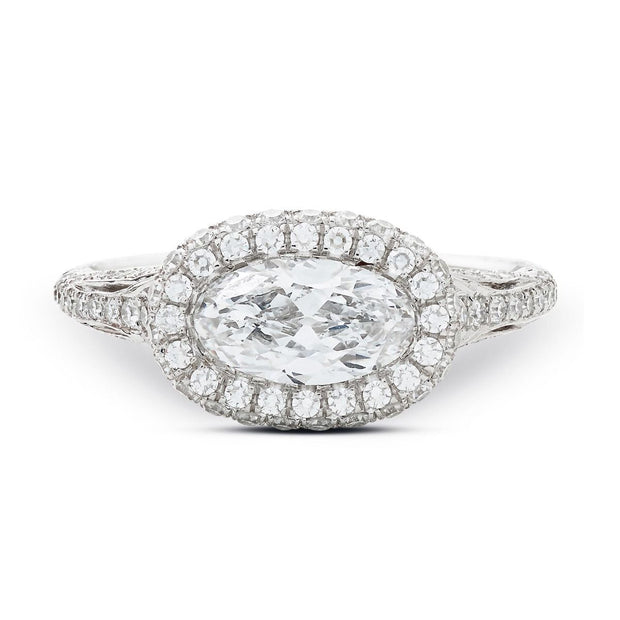 MOVAL-SHAPED DIAMOND PLATINUM ENGAGEMENT RING