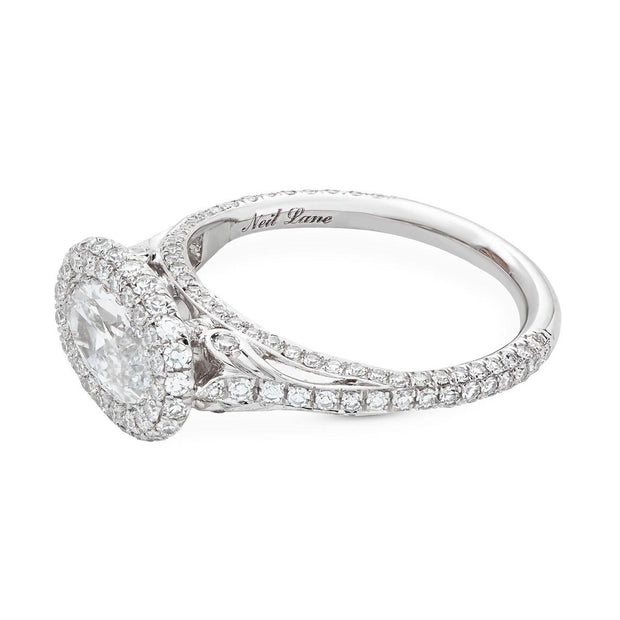 NEIL LANE MOVAL-SHAPED DIAMOND PLATINUM ENGAGEMENT RING