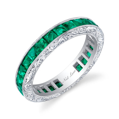 French Cut Emerald, Engraved Platinum Band