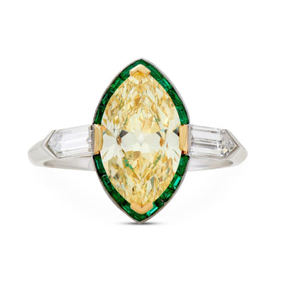 ART DECO FANCY INTENSE YELLOW DIAMOND,  EMERALD, PLATINUM RING