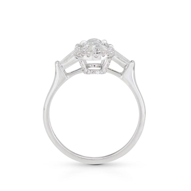 NEIL LANE MOVAL SHAPED DIAMOND, PLATINUM ENGAGEMENT RING