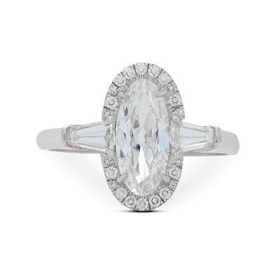 MOVAL-SHAPED DIAMOND, PLATINUM ENGAGEMENT RING