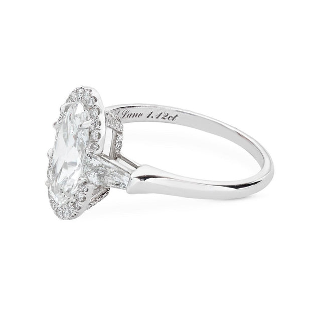 NEIL LANE COUTURE DESIGN MOVAL SHAPED DIAMOND, PLATINUM ENGAGEMENT RING