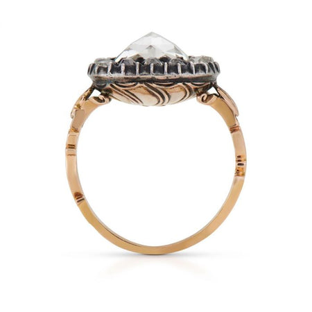 GEORGIAN DIAMOND, SILVER-TOPPED YELLOW GOLD RING