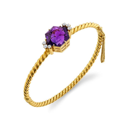 Amethyst & Yellow Gold Bangle Bracelet