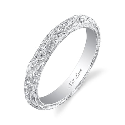 Round Diamond, Engraved Platinum Band