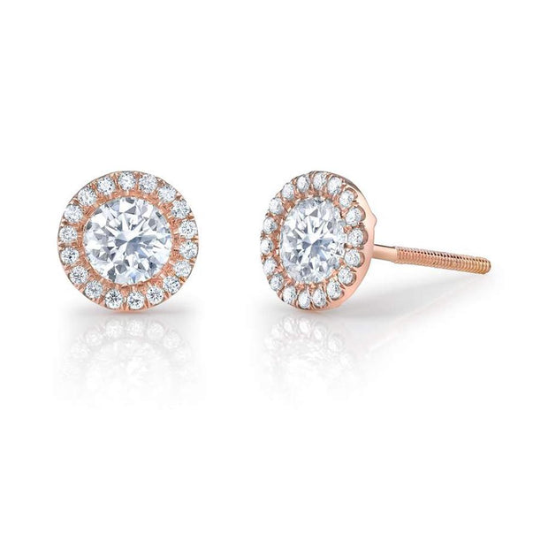 Neil Lane Couture Round-Cut Diamond, 18K Rose Gold Earrings