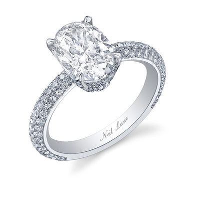 Oval Diamond and Triple Pave Platinum Engagement Ring