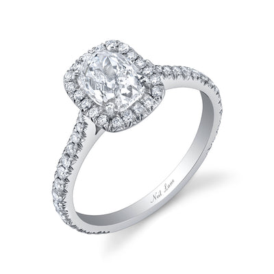 Cushion Diamond, Pave Halo and Platinum Engagement Ring