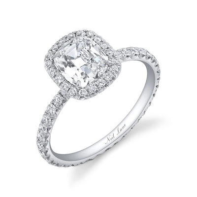 Cushion Diamond and Contour Halo Platinum Ring