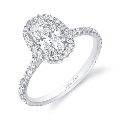 Pave Halo and Oval Diamond, Platinum Ring