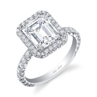 Emerald-Cut Diamond, Single Halo Platinum Ring