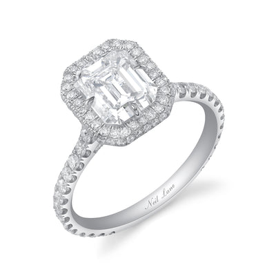 Asscher Diamond & Double Contour Halo Platinum Engagement Ring