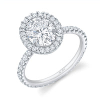Classic Oval Diamond and Halo Platinum Engagement Ring