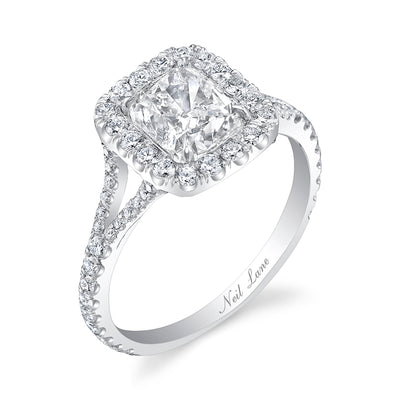 Double Halo and Cushion Diamond, Platinum Engagement Ring