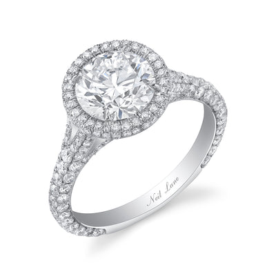 Round Diamond, Double Halo, PLatinum Engagement Ring