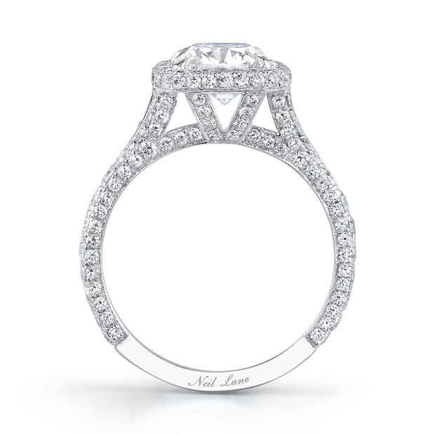 Triple Diamond Shank and Double Halo Cushion Diamond Engagement Ring