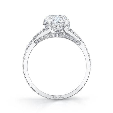Cushion Diamond, Stylized Platinum Engagement Ring