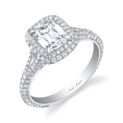 Split Shank and Double Halo Cushion Diamond Engagement Ring - Platinum