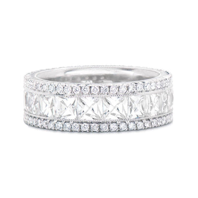 FRENCH-CUT DIAMOND, PLATINUM ETERNITY BAND