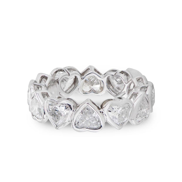 HEART SHAPED DIAMOND AND PLATINUM ETERNITY BAND