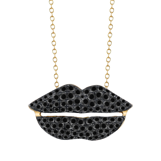 "BLACK DIAMOND, YELLOW GOLD ""LIPS"" PENDANT NECKLACE"