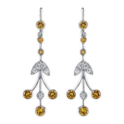 NEIL LANE WHITE & COLORED DIAMOND, PLATINUM EARRINGS