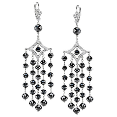 NEIL LANE BLACK & WHITE DIAMOND, PLATINUM CHANDELIER EARRINGS