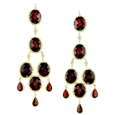 NEIL LANE GARNET, DIAMOND, 14K YELLOW GOLD PENDANT EARRINGS