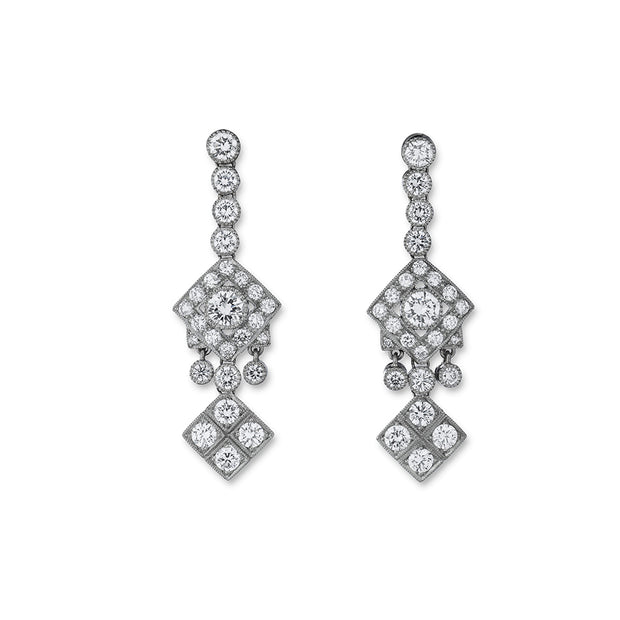 NEIL LANE ART DECO STYLE DIAMOND, PLATINUM EARRINGS
