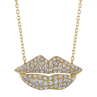 "DIAMOND, YELLOW GOLD ""LIPS"" PENDANT NECKLACE"