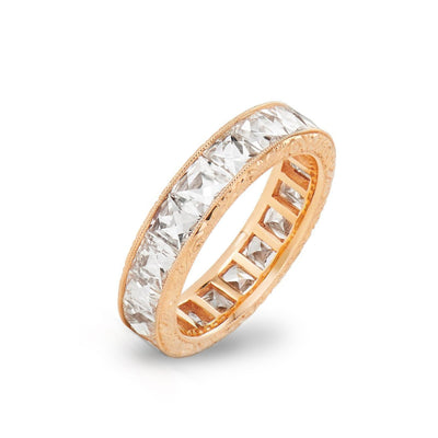 FRENCH-CUT DIAMOND, 18K ROSE GOLD ETERNITY BAND