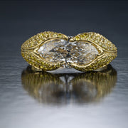 NEIL LANE COUTURE DESIGN MARQUISE BRILLIANT-SHAPED DIAMOND, FANCY YELLOW DIAMOND, PLATINUM RING