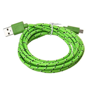 10-Ft Fiber Cloth Power Sync Cable In Snappy Colors - Green - Phones