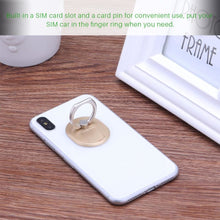 2-in-1 Smart Phone Finger Ring Stand with Built in SIM Card Carrying Slot - Phones