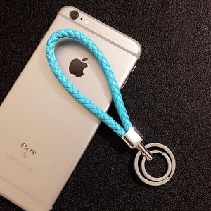 Braided Wristlet Keychain with Double Key Ring - blue - keychain