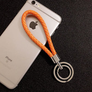 Braided Wristlet Keychain with Double Key Ring - orange - keychain
