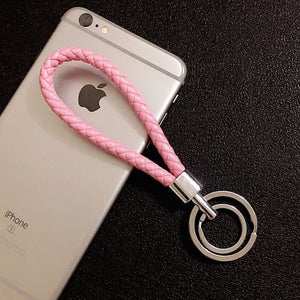 Braided Wristlet Keychain with Double Key Ring - pink - keychain