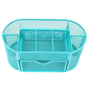 Bright Metal Mesh Desk Organizer - Blue - Storage